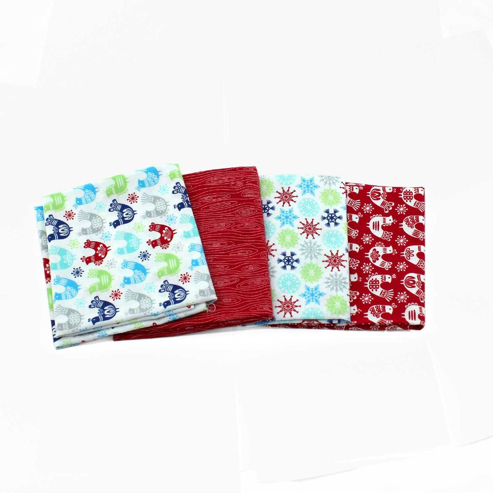 Folk Art Holiday 4 fat Quarters Red